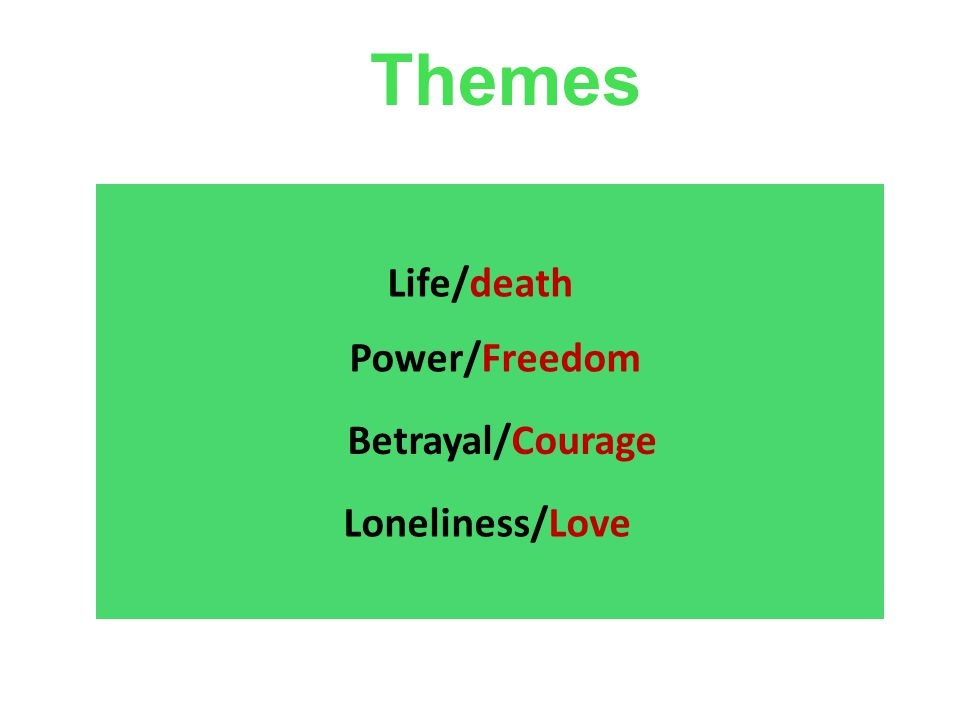 Themes Life/death Power/Freedom Betrayal/Courage Loneliness/Love Julia Romanowska Projekt KULT 2009 03 30Stressforskningsinstitutet