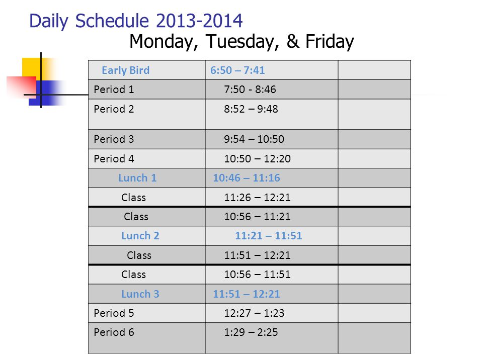 Daily Schedule 2013-2014 Monday, Tuesday, & Friday Early Bird6:50 – 7:41 Period 1 7:50 - 8:46 Period 2 8:52 – 9:48 Period 3 9:54 – 10:50 Period 4 10:5