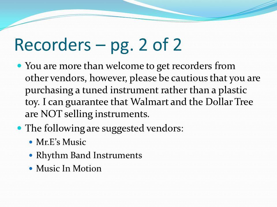 Recorders – pg.