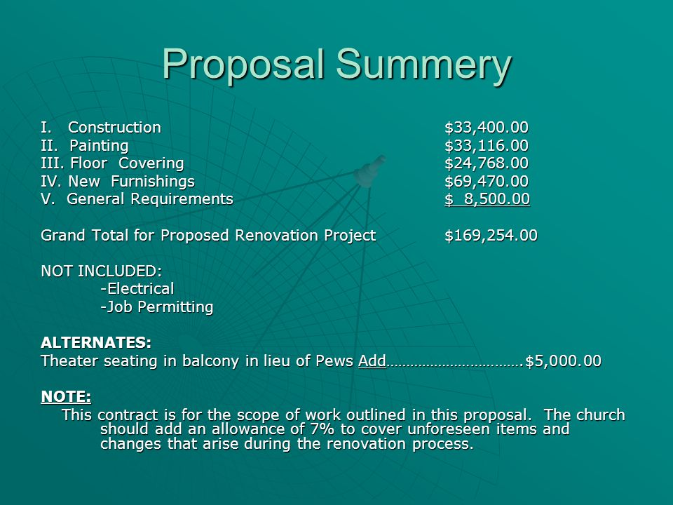 Proposal Summery I. Construction$33,400.00 II. Painting $33,116.00 III.
