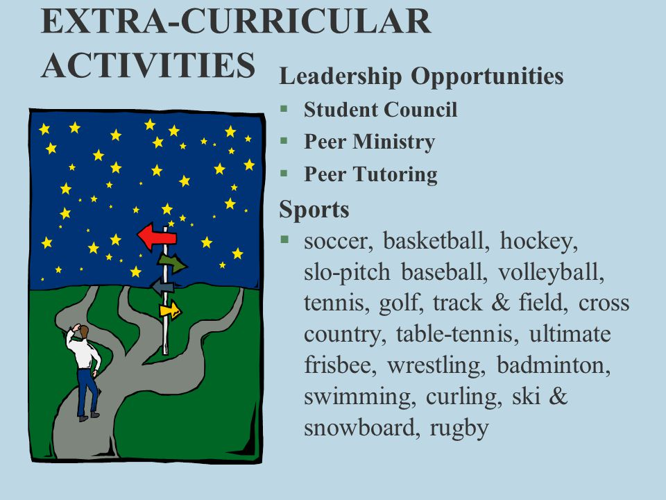 EXTRA-CURRICULAR ACTIVITIES Leadership Opportunities §Student Council §Peer Ministry §Peer Tutoring Sports §soccer, basketball, hockey, slo-pitch base