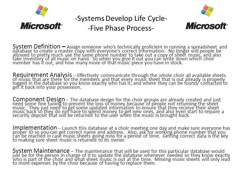 -Systems Develop Life Cycle- -Five Phase Process- System Definition – Assign someone who's technically proficient in running a spreadsheet and database to create a master copy with everyone s correct information.