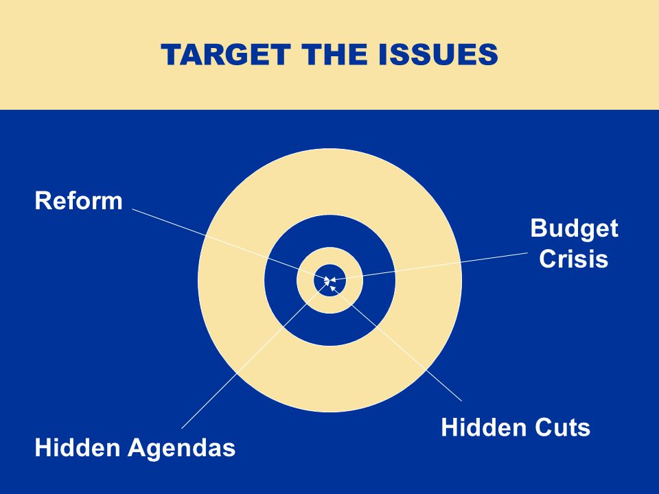 Reform Budget Crisis Hidden Agendas Hidden Cuts TARGET THE ISSUES