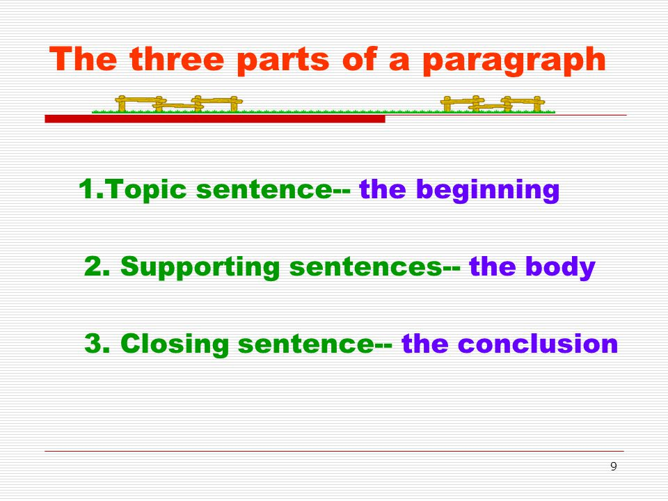9 The three parts of a paragraph 1.Topic sentence-- the beginning 2. Supporting sentences-- the body 3. Closing sentence-- the conclusion