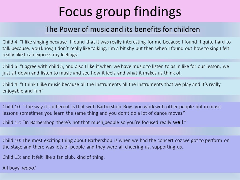 "Focus group findings The Power of music and its benefits for children Child 4: ""I like singing because I found that it was really interesting for me b"