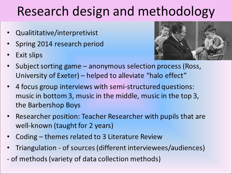 Research design and methodology Qualititative/interpretivist Spring 2014 research period Exit slips Subject sorting game – anonymous selection process