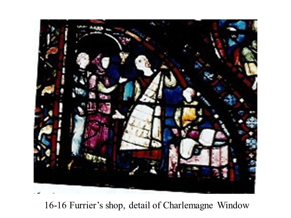 16-16 Furrier's shop, detail of Charlemagne Window