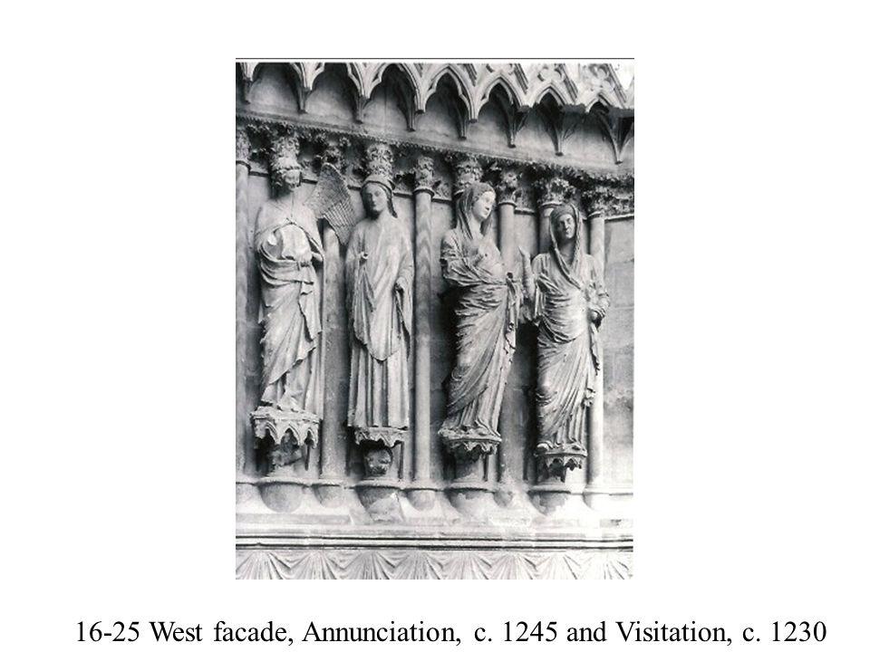16-25 West facade, Annunciation, c. 1245 and Visitation, c. 1230