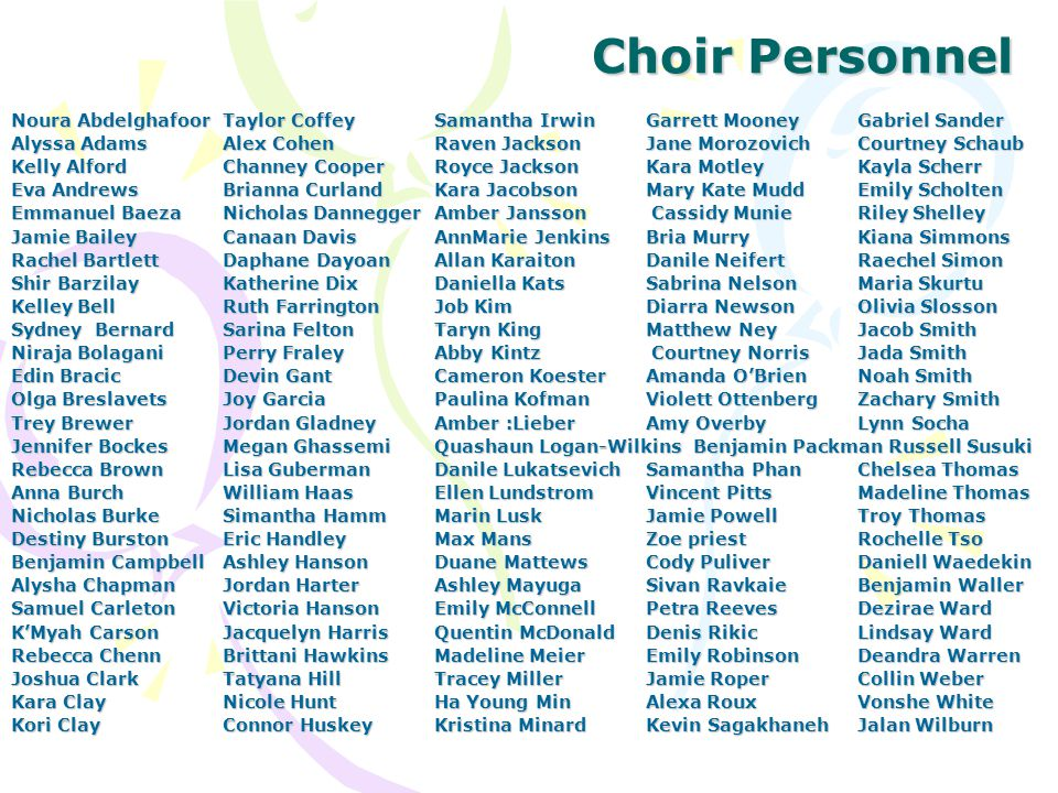 Choir Personnel (continued) Abby Williams Jacob Williams Katelyn Williams Kayla Williams Kulani Williams Michael Worth Aurora Wrancher