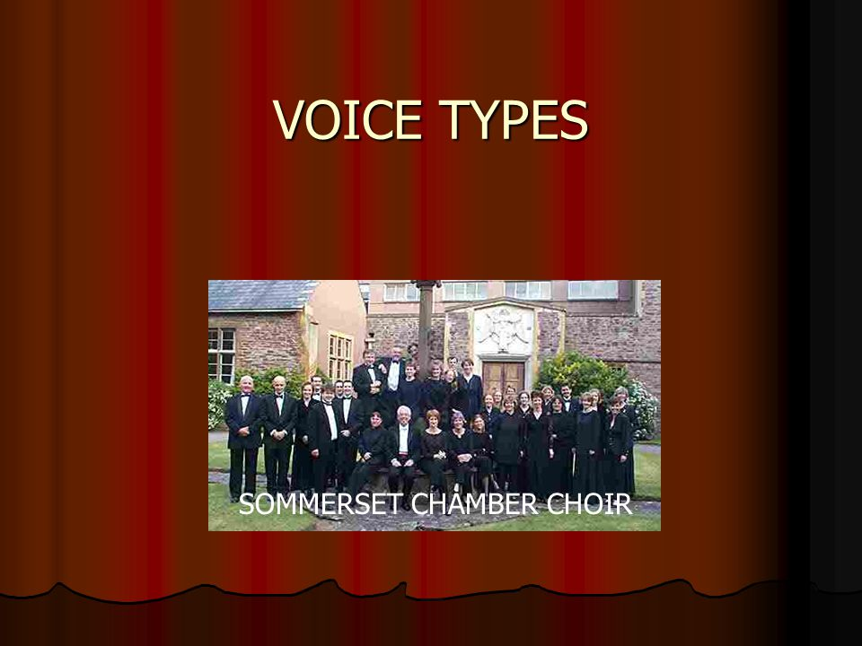 Choir A choir is a group of singers A choir is a group of singers They vary in size They vary in size Schools, churches, and communities have choirs Schools, churches, and communities have choirs A choir is usually made up of several different voice types A choir is usually made up of several different voice types