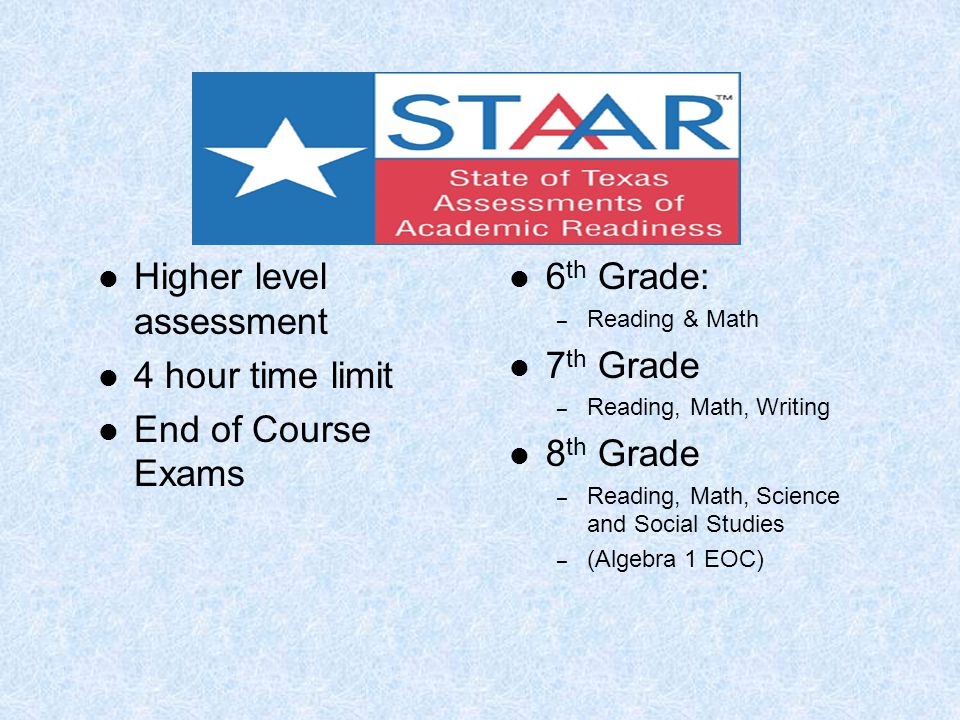 STAAR Testing Higher level assessment 4 hour time limit End of Course Exams 6 th Grade: – Reading & Math 7 th Grade – Reading, Math, Writing 8 th Grade – Reading, Math, Science and Social Studies – (Algebra 1 EOC)