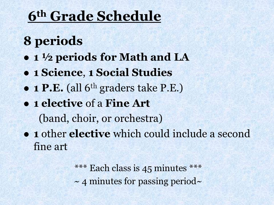 6 th Grade Daily Bell Schedule 1ST9:20 – 10:04 2ND10:08 – 10:52 3RD10:56 – 11:40 LUNCH….11:40 - 12:10 (three lines to choose from) 4TH 12:14 – 12:58 5TH1:02 – 1:46 6TH1:50 – 2:34 7TH2:38 – 3:42 8TH3:46 – 4:30(4 minute passing periods) *We have a 20 minute homeroom period: 7 th Period.