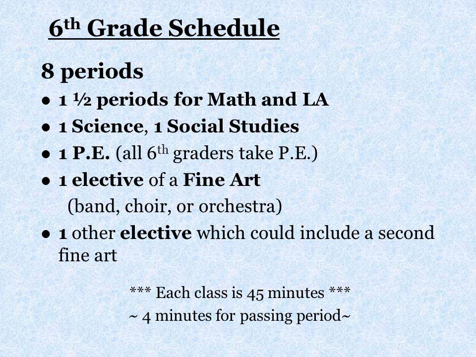 6 th Grade Schedule 8 periods 1 ½ periods for Math and LA 1 Science, 1 Social Studies 1 P.E. (all 6 th graders take P.E.) 1 elective of a Fine Art (ba