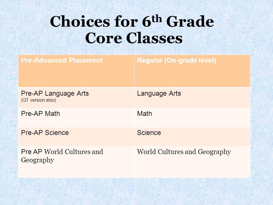 Choices for 6 th Grade Core Classes Pre-Advanced PlacementRegular (On-grade level) Pre-AP Language Arts (GT version also) Language Arts Pre-AP MathMat
