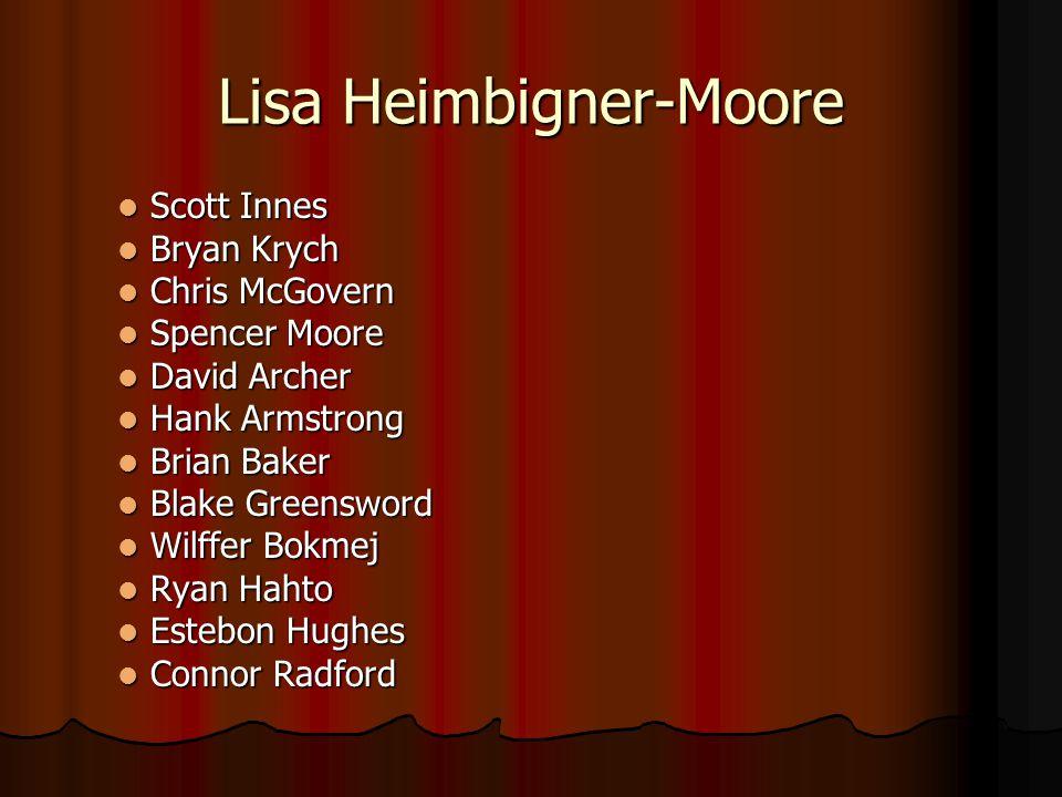 Lisa Heimbigner-Moore Scott Innes Scott Innes Bryan Krych Bryan Krych Chris McGovern Chris McGovern Spencer Moore Spencer Moore David Archer David Arc