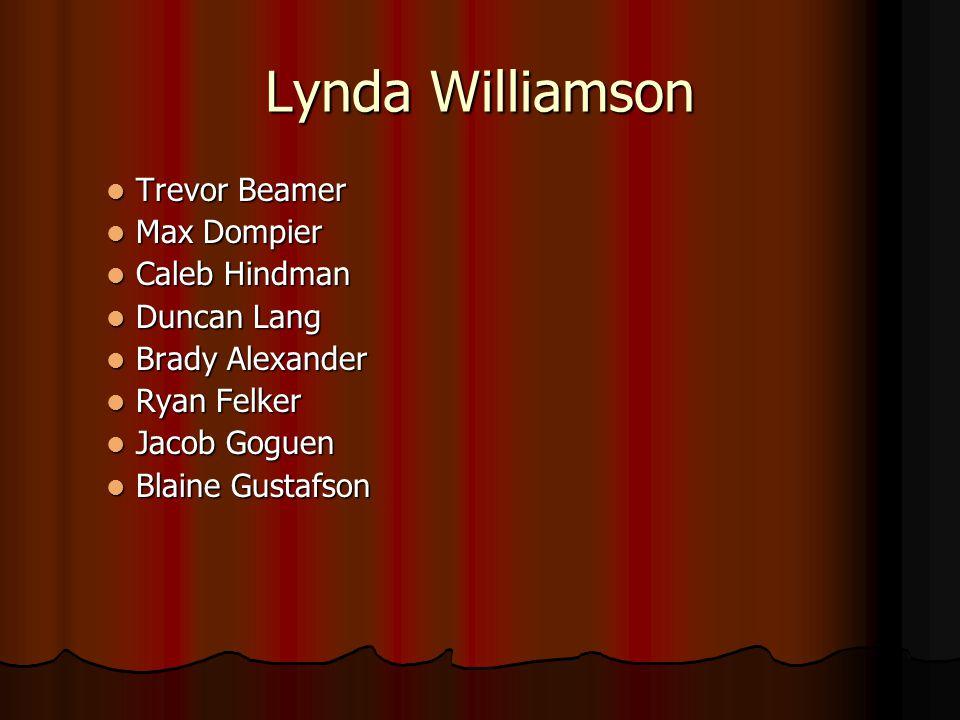 Lynda Williamson Trevor Beamer Trevor Beamer Max Dompier Max Dompier Caleb Hindman Caleb Hindman Duncan Lang Duncan Lang Brady Alexander Brady Alexand