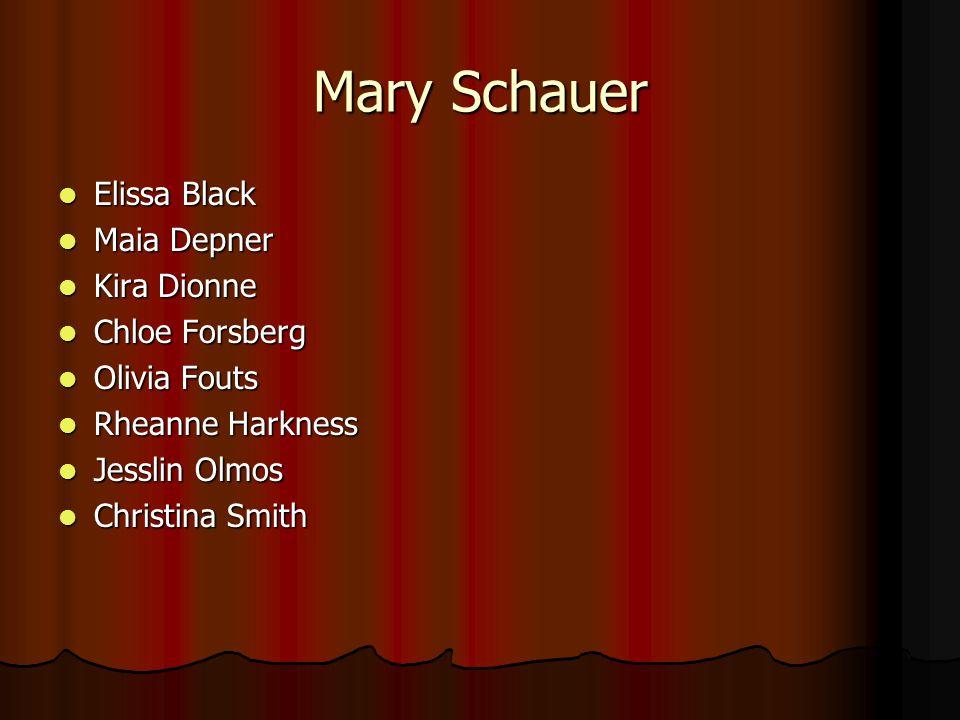 Mary Schauer Elissa Black Elissa Black Maia Depner Maia Depner Kira Dionne Kira Dionne Chloe Forsberg Chloe Forsberg Olivia Fouts Olivia Fouts Rheanne