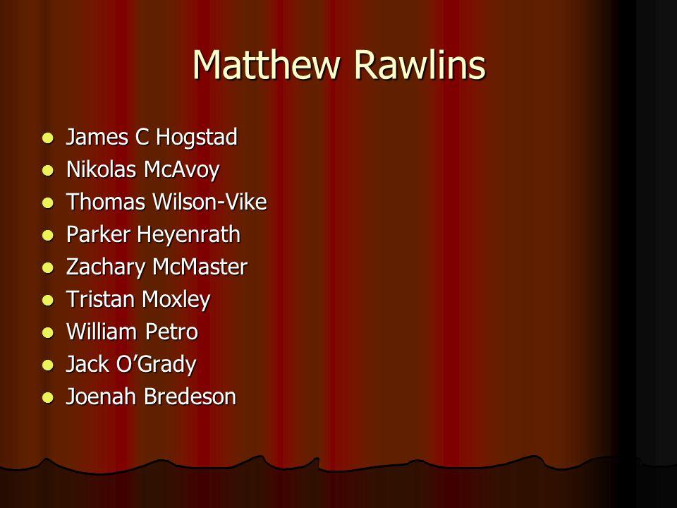 Matthew Rawlins James C Hogstad James C Hogstad Nikolas McAvoy Nikolas McAvoy Thomas Wilson-Vike Thomas Wilson-Vike Parker Heyenrath Parker Heyenrath