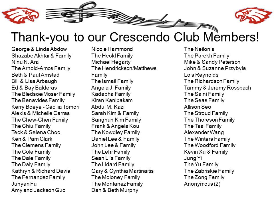 Thank-you to our Crescendo Club Members.George & Linda Abdow Shazabe Akhtar & Family Ninu N.
