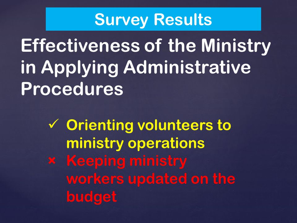 Effectiveness of the Ministry in Applying Administrative Procedures Orienting volunteers to ministry operations ×Keeping ministry workers updated on the budget Survey Results