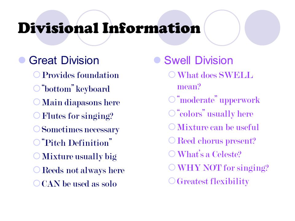Divisional Information Great Division  Provides foundation  bottom keyboard  Main diapasons here  Flutes for singing.