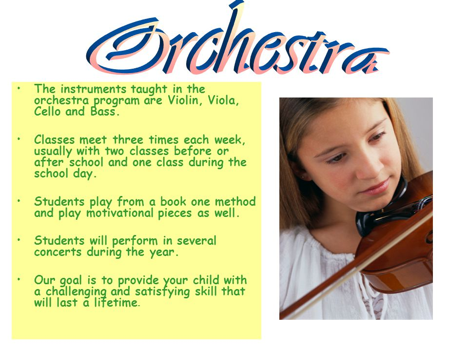 The instruments taught in the orchestra program are Violin, Viola, Cello and Bass.