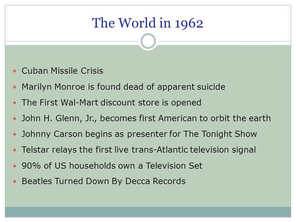 The World in 1962 Cuban Missile Crisis Marilyn Monroe is found dead of apparent suicide The First Wal-Mart discount store is opened John H. Glenn, Jr.