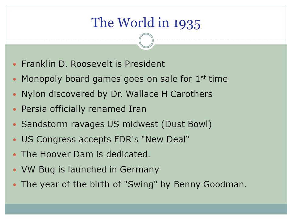 The World in 1935 Franklin D. Roosevelt is President Monopoly board games goes on sale for 1 st time Nylon discovered by Dr. Wallace H Carothers Persi