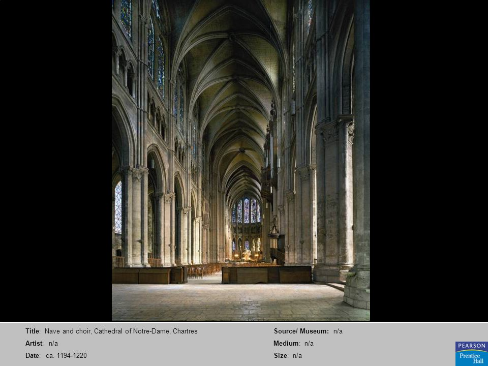 Title: Nave and choir, Cathedral of Notre-Dame, Chartres Artist: n/a Date: ca. 1194-1220 Source/ Museum: n/a Medium: n/a Size: n/a