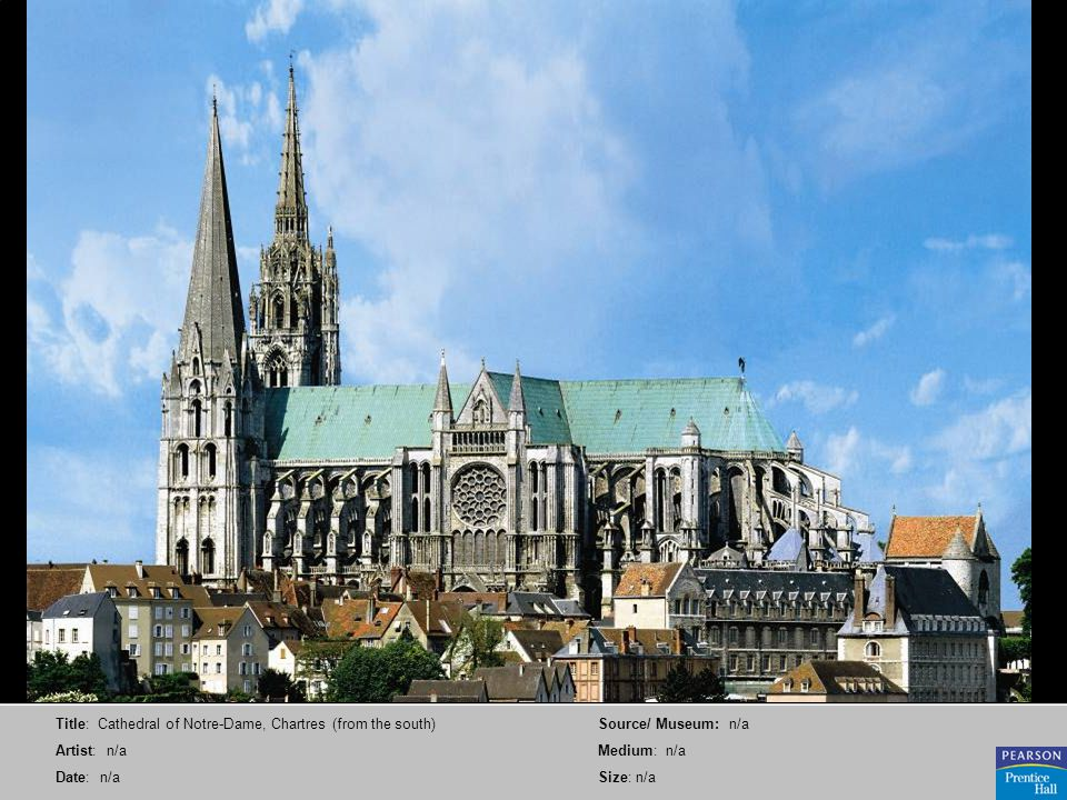 Title: Cathedral of Notre-Dame, Chartres (from the south) Artist: n/a Date: n/a Source/ Museum: n/a Medium: n/a Size: n/a