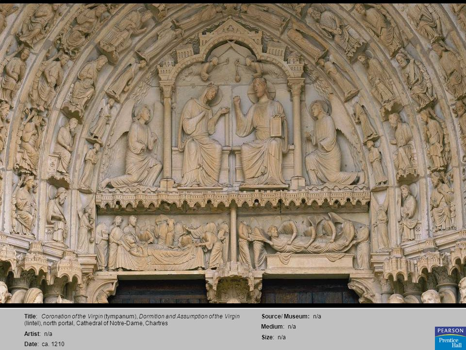 Title: Coronation of the Virgin (tympanum), Dormition and Assumption of the Virgin (lintel), north portal, Cathedral of Notre-Dame, Chartres Artist: n