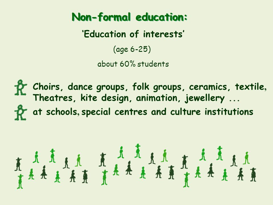 Non-formal education: Choirs, dance groups, folk groups, ceramics, textile, Theatres, kite design, animation, jewellery... at schools, special centres