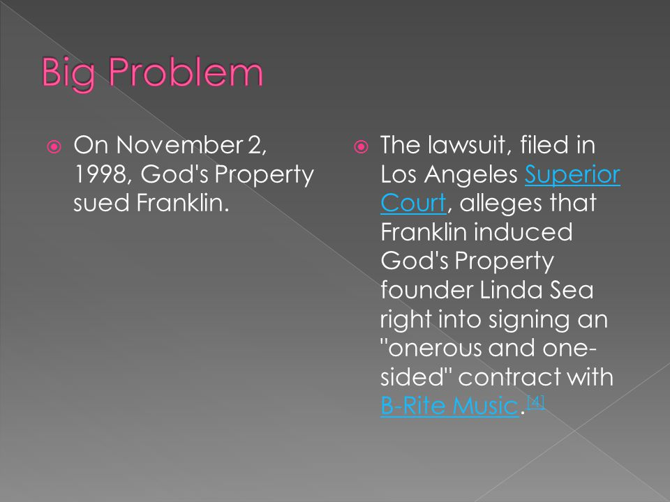  On November 2, 1998, God s Property sued Franklin.