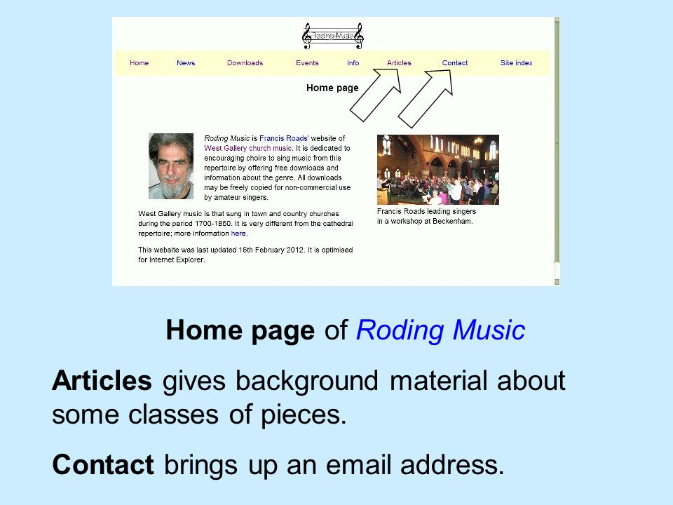 Home page of Roding Music Articles gives background material about some classes of pieces. Contact brings up an email address.