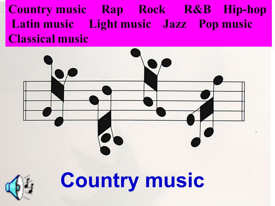Country music Country music Rap Rock R&B Hip-hop Latin music Light music Jazz Pop music Classical music
