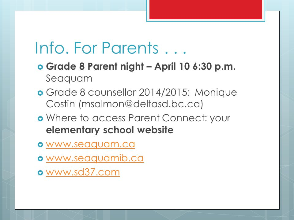 Parent Connect : Your elementary school website will have a link!