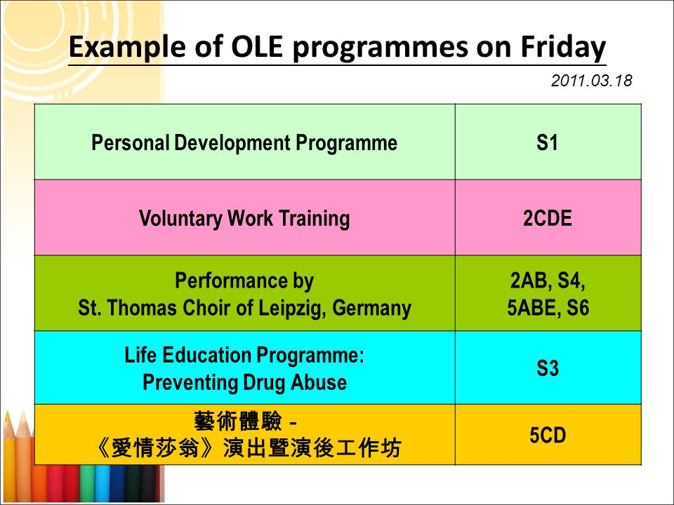 Example of OLE programmes on Friday Personal Development ProgrammeS1 Voluntary Work Training2CDE Performance by St.