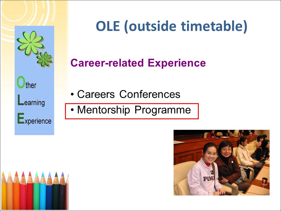 Career-related Experience Careers Conferences Mentorship Programme OLE (outside timetable)