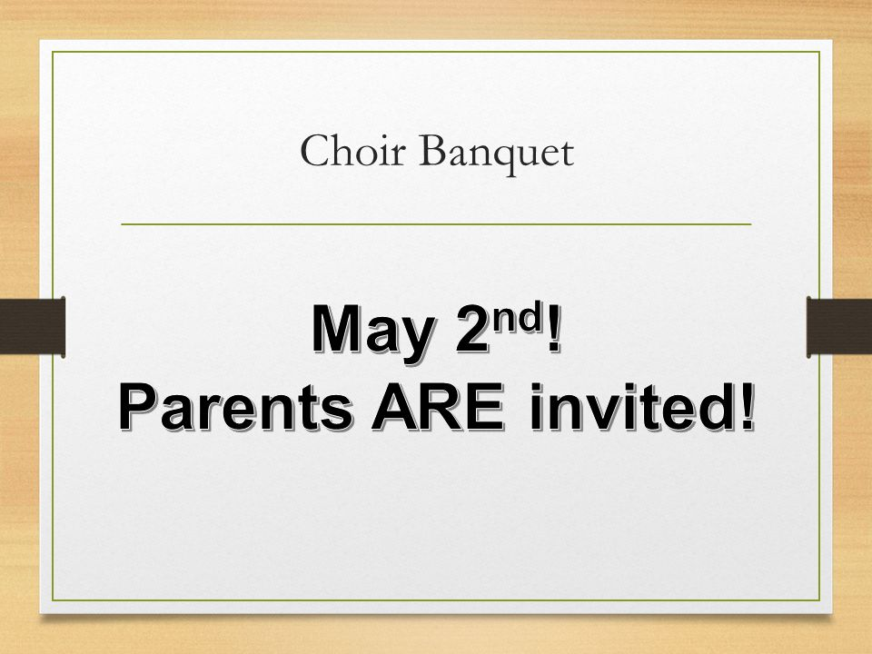 Choir Banquet