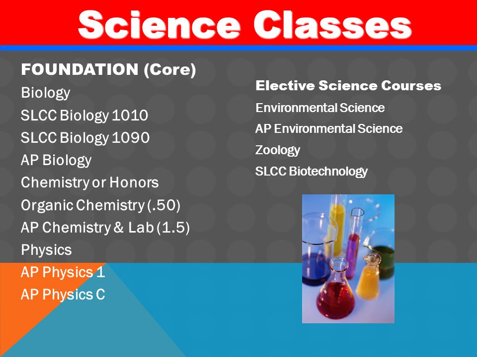Science Classes Science Classes FOUNDATION (Core) Biology SLCC Biology 1010 SLCC Biology 1090 AP Biology Chemistry or Honors Organic Chemistry (.50) AP Chemistry & Lab (1.5) Physics AP Physics 1 AP Physics C Elective Science Courses Environmental Science AP Environmental Science Zoology SLCC Biotechnology