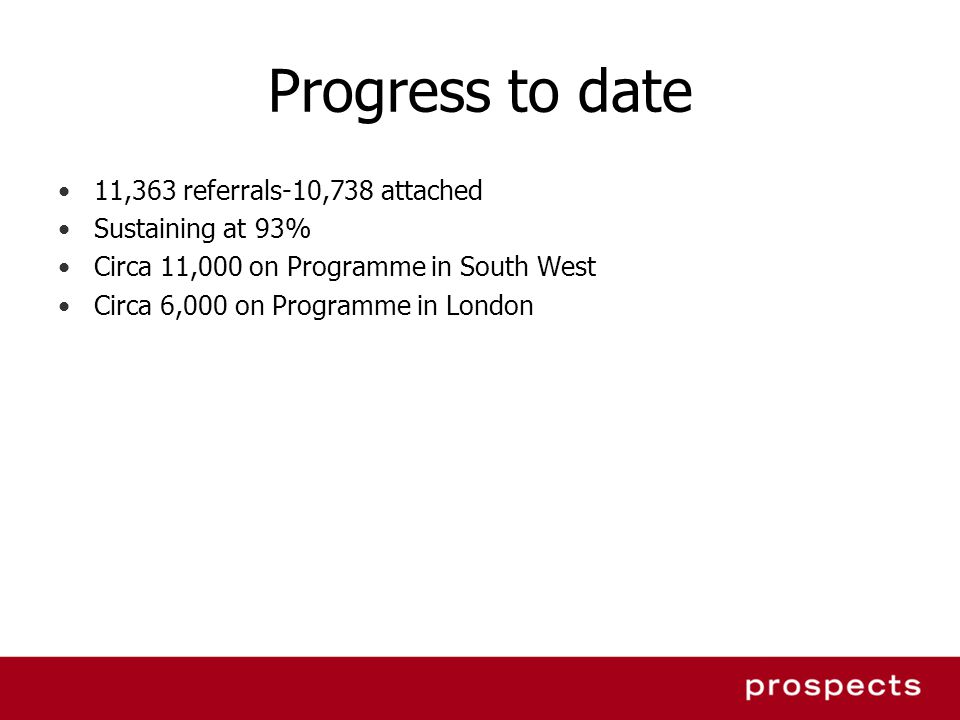 Progress to date 11,363 referrals-10,738 attached Sustaining at 93% Circa 11,000 on Programme in South West Circa 6,000 on Programme in London