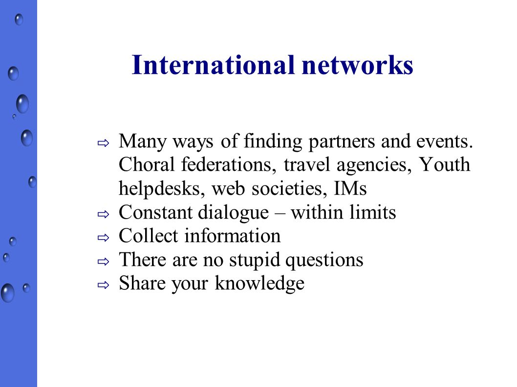 International networks ⇨ Many ways of finding partners and events.