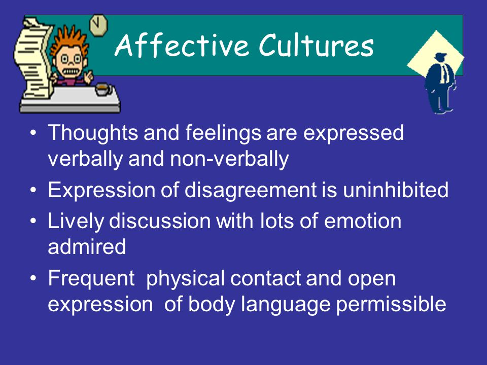 Affective Cultures Thoughts and feelings are expressed verbally and non-verbally Expression of disagreement is uninhibited Lively discussion with lots
