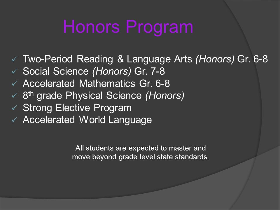 Honors Program Two-Period Reading & Language Arts (Honors) Gr.