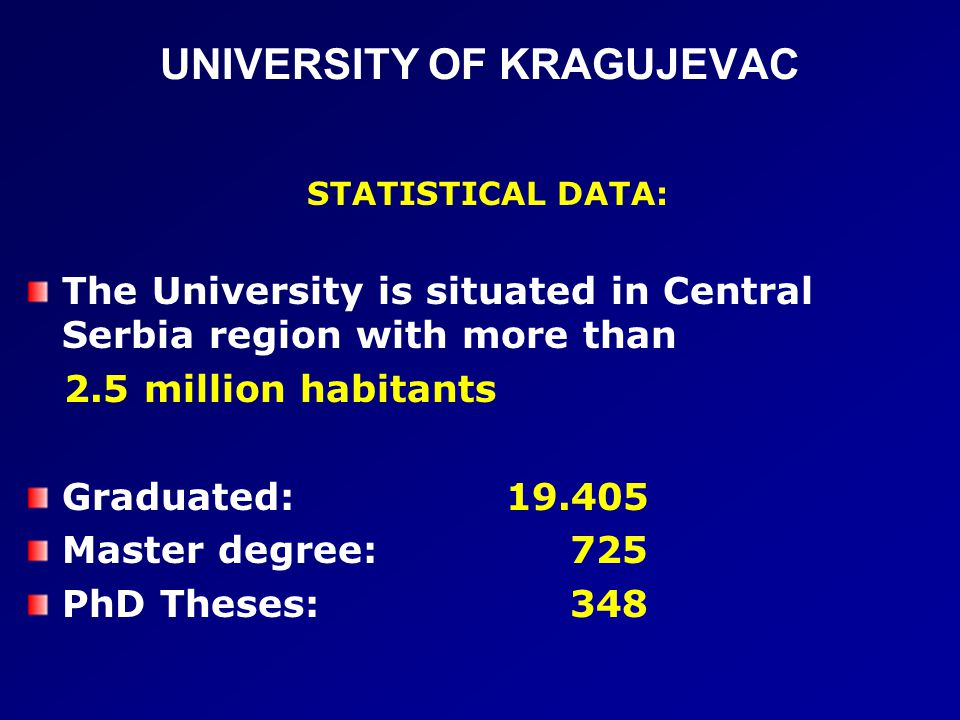 UNIVERSITY OF KRAGUJEVAC STATISTICAL DATA: The University is situated in Central Serbia region with more than 2.5 million habitants Graduated: 19.405 Master degree: 725 PhD Theses: 348