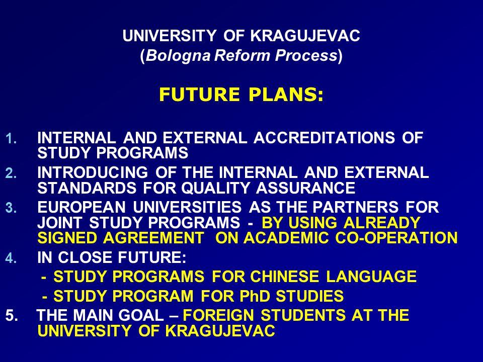 UNIVERSITY OF KRAGUJEVAC (Bologna Reform Process) FUTURE PLANS: 1.