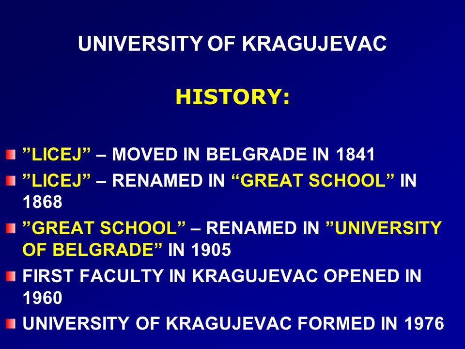 UNIVERSITY OF KRAGUJEVAC HISTORY: LICEJ – MOVED IN BELGRADE IN 1841 LICEJ – RENAMED IN GREAT SCHOOL IN 1868 GREAT SCHOOL – RENAMED IN UNIVERSITY OF BELGRADE IN 1905 FIRST FACULTY IN KRAGUJEVAC OPENED IN 1960 UNIVERSITY OF KRAGUJEVAC FORMED IN 1976