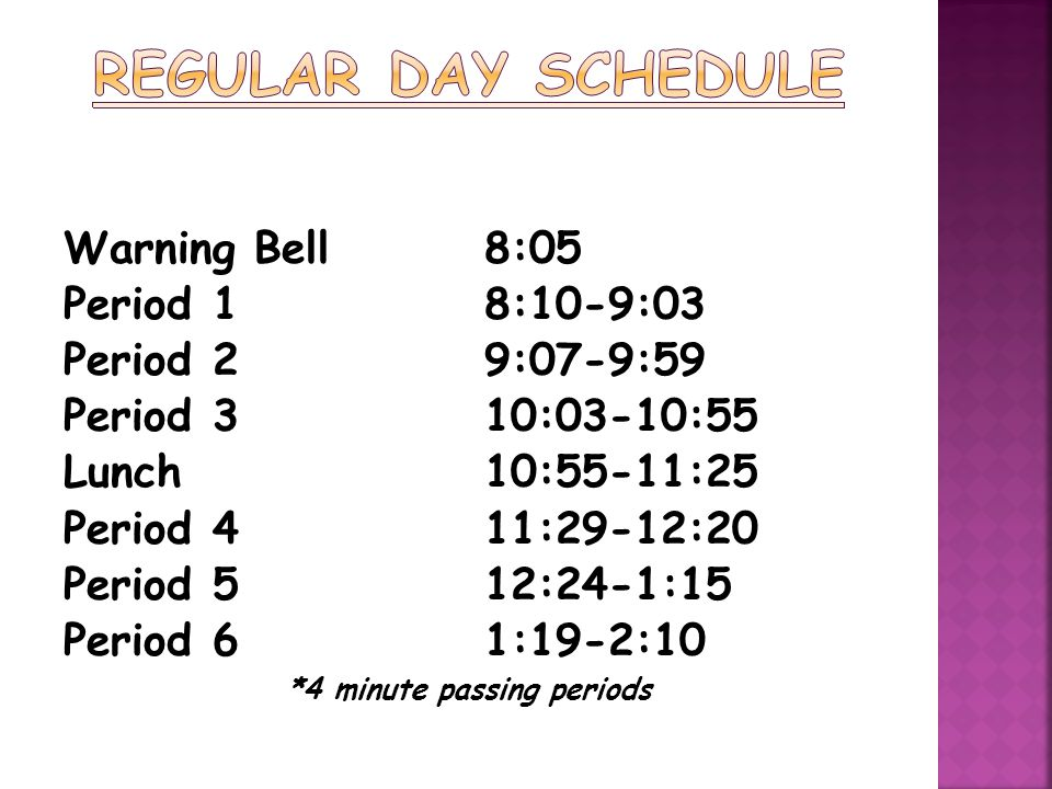 Warning Bell8:05 Period 18:05-8:48 Period 28:52-9:28 Period 39:32-10:08 Period 410:12-10:48 Lunch (7 th graders only) 10:48-11:18 Period 511:22-12:00 Period 6 12:04-12:40 *4 minute passing periods