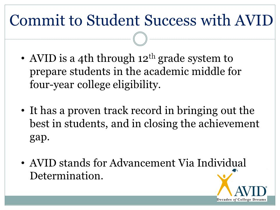 Commit to Student Success with AVID AVID is a 4th through 12 th grade system to prepare students in the academic middle for four-year college eligibil