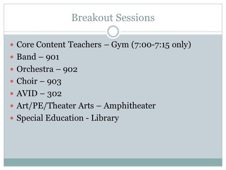 Breakout Sessions Core Content Teachers – Gym (7:00-7:15 only) Band – 901 Orchestra – 902 Choir – 903 AVID – 302 Art/PE/Theater Arts – Amphitheater Sp